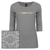Ladies Grey Heather Lace 3/4 Sleeve Tee-Ambit Energy