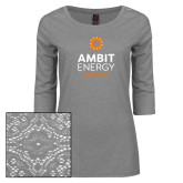 Ladies Grey Heather Lace 3/4 Sleeve Tee-Ambit Energy Canada