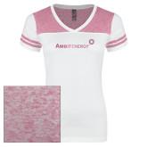 Ladies White/Bright Pink Juniors Varsity V Neck Tee-Foil