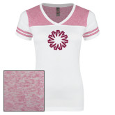 Ladies White/Heathered Pink Juniors Varsity V Neck Tee-Spark Hot Pink Glitter