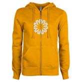ENZA Ladies Gold Fleece Full Zip Hoodie-Spark White Soft Glitter