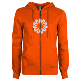 ENZA Ladies Orange Fleece Full Zip Hoodie-Spark White Soft Glitter