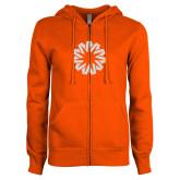 ENZA Ladies Orange Fleece Full Zip Hoodie-Spark White Soft Glitter