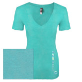 Next Level Ladies Vintage Tahiti Blue Tri Blend V Neck Tee-Foil
