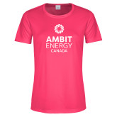 Ladies Performance Hot Pink Tee-Ambit Energy Canada