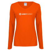 Ladies Orange Long Sleeve V Neck Tee-Ambit Energy