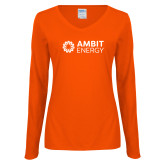 Ladies Orange Long Sleeve V Neck T Shirt-Ambit Energy