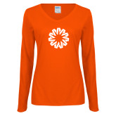 Ladies Orange Long Sleeve V Neck T Shirt-Spark