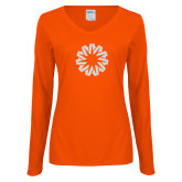 Ladies Orange Long Sleeve V Neck Tee-Spark White Soft Glitter