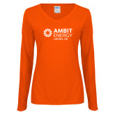 Ladies Orange Long Sleeve V Neck T Shirt-Ambit Energy Japan