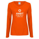 Ladies Orange Long Sleeve V Neck Tee-Ambit Energy Japan