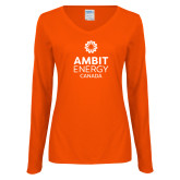 Ladies Orange Long Sleeve V Neck Tee-Ambit Energy Canada