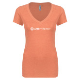 Next Level Ladies Vintage Orange Tri Blend V Neck Tee-Ambit Energy
