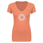 Next Level Ladies Vintage Orange Tri Blend V Neck Tee-Spark White Soft Glitter