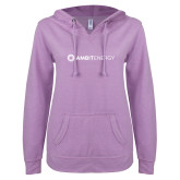 ENZA Ladies Hot Violet V Notch Raw Edge Fleece Hoodie-Ambit Energy