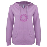 ENZA Ladies Hot Violet V Notch Raw Edge Fleece Hoodie-Spark Lilac Soft Glitter