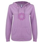 ENZA Ladies Hot Violet V Notch Raw Edge Fleece Hoodie-Spark Lilac Soft Glitter