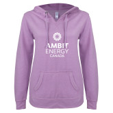 ENZA Ladies Hot Violet V Notch Raw Edge Fleece Hoodie-Ambit Energy Canada