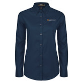 Ladies Navy Twill Button Down Long Sleeve-Ambit Energy