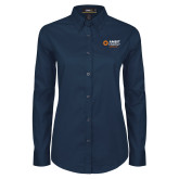Ladies Navy Twill Button Down Long Sleeve-Ambit Energy Japan