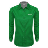 Ladies Kelly Green Twill Button Down Long Sleeve-