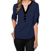 Ladies Posh Navy 3/4 Sleeve Blouse-Ambit Energy