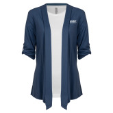 Ladies Navy Drape Front Cardigan-Ambit Energy