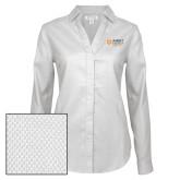 Ladies Red House Diamond Dobby White Long Sleeve Shirt-Ambit Energy Japan