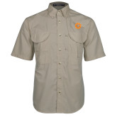 Khaki Short Sleeve Performance Fishing Shirt-Spark
