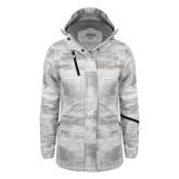 Ladies White Brushstroke Print Insulated Jacket-