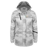 Ladies White Brushstroke Print Insulated Jacket-Ambit Energy