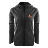 Ladies Tech Fleece Full Zip Black Hooded Jacket-