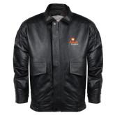 Black Leather Bomber Jacket-