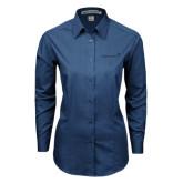 Ladies Deep Blue Tonal Pattern Long Sleeve Shirt-