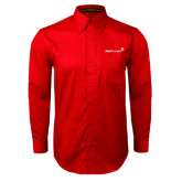 Red Twill Button Down Long Sleeve-