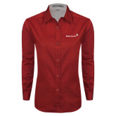 Ladies Red Twill Button Down Long Sleeve-