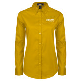 Ladies Gold Twill Button Down Long Sleeve-Ambit Energy Japan