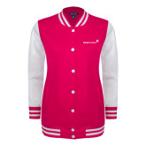 Ladies Pink Raspberry/White Fleece Letterman Jacket-