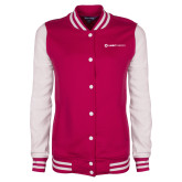 Ladies Pink Raspberry/White Fleece Letterman Jacket-Ambit Energy