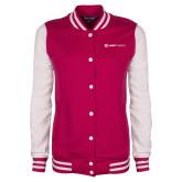 Ladies Pink Raspberry/White Fleece Letterman Jacket-Ambit Energy