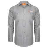 Red Kap Light Grey Long Sleeve Industrial Work Shirt-