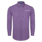 Mens Deep Purple Crosshatch Poplin Long Sleeve Shirt-