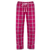 Ladies Dark Fuchsia/White Flannel Pajama Pant-