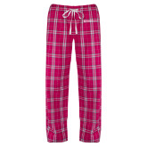 Ladies Dark Fuchsia/White Flannel Pajama Pant-Ambit Energy
