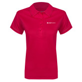 Ladies Pink Raspberry Contrast Stitch Micropique Sport Wick Polo-Ambit Energy