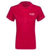 Ladies Pink Raspberry Contrast Stitch Micropique Sport Wick Polo-Ambit Energy Japan