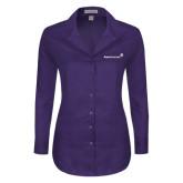 Ladies Red House Deep Purple Herringbone Long Sleeve Shirt-