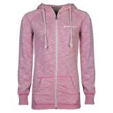 ENZA Ladies Hot Pink Marled Full Zip Hoodie-Ambit Energy