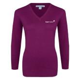 Ladies Deep Berry V Neck Sweater-