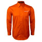 Orange Twill Button Down Long Sleeve-